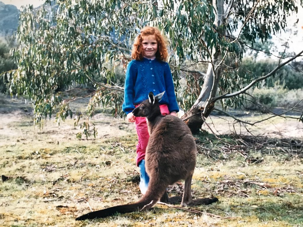 Anna as a child with a Kangaroo